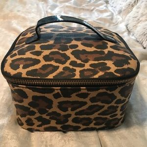 Leopard Print Makeup Bag With Removable Organizer